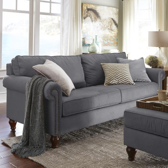 grey upholstered sofa