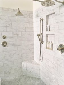 2 niches subway tile shower
