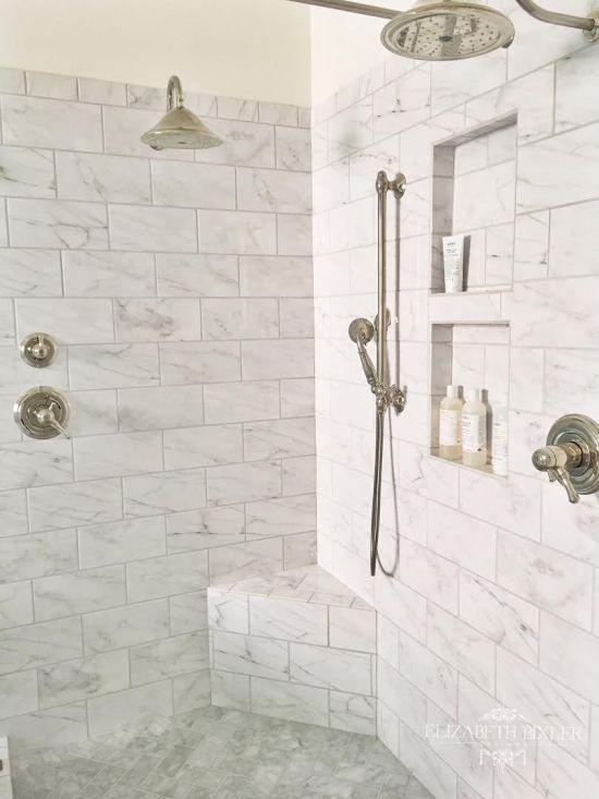 2 niches subway tile shower