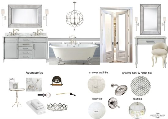 white bathroom mood board