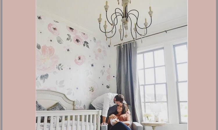 Watercolor Blush Pink Floral White Girl Nursery