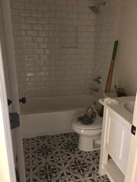 Vintage grey and white bathroom