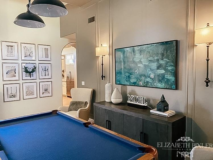 Sherwin williams Dovetail with Gallery wall