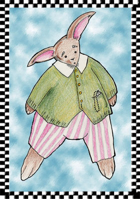 Rabbit in jumper; mixed media: colored pencil on paper digitized