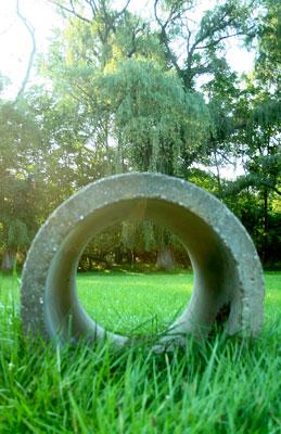 Concrete circle in grass