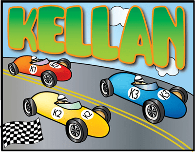 Child's name with vintage race cars