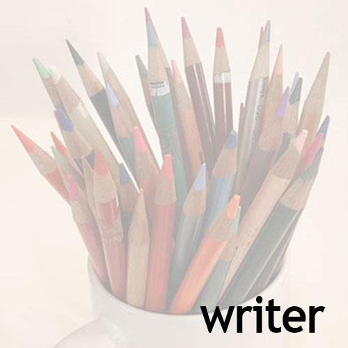 """cup with colored pencils; headline """"writer"""""""