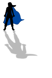 silhouette of woman with blue cape