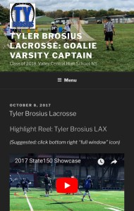 screen shot of Tyler Brosius' web site