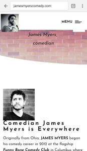 screen shot of mobile version of James Myers web site