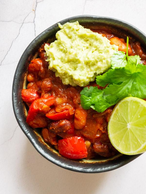 Vegan Bean Chilli with Guacamole