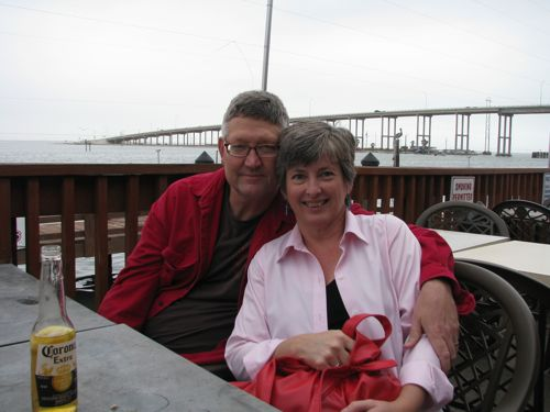 """Cherry took this photo of Bacon and I on Snoopy's deck. You can see my """"Going Gray"""" hair."""