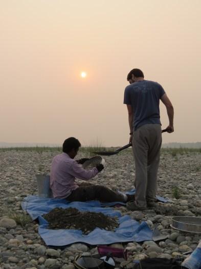Grain size analysis on the Yamuna River