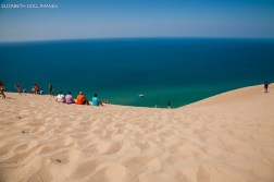 Lake Michigan at the bottom of the STEEEEEP dunes.