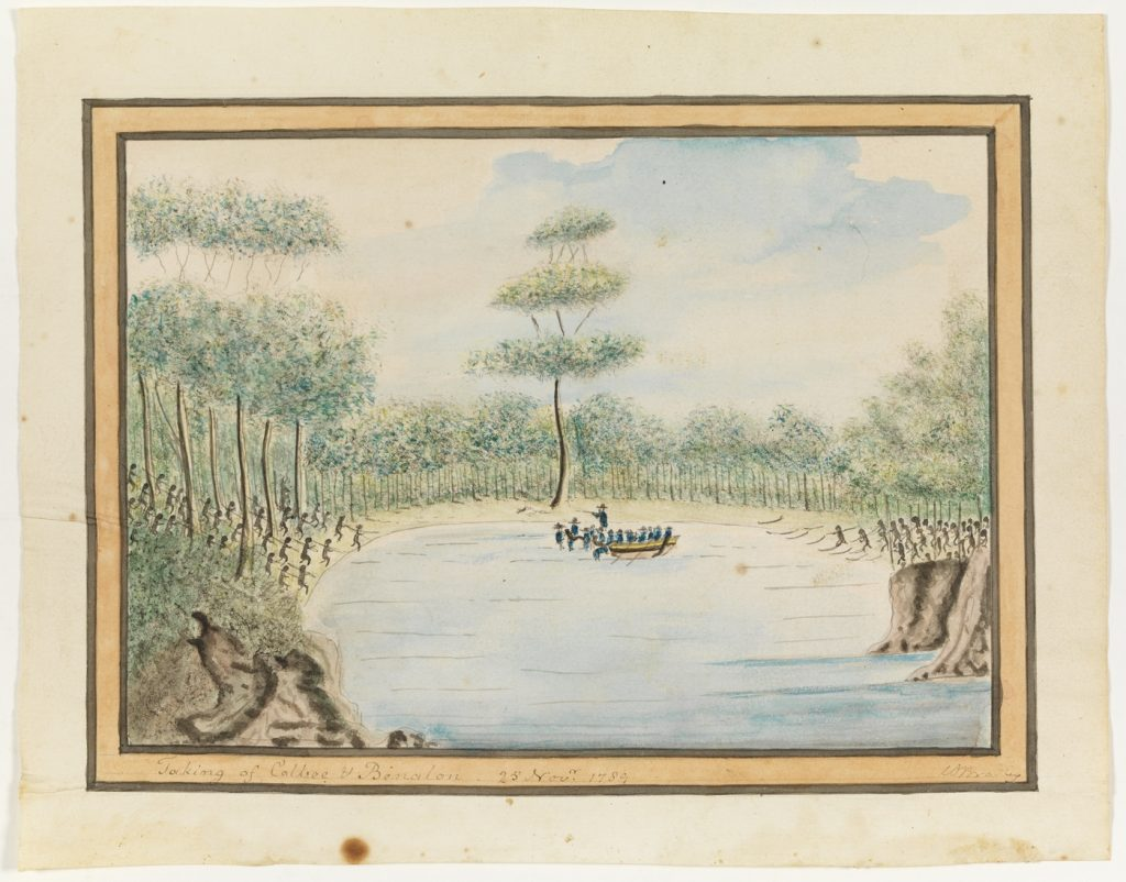 Taking of Colbee (Colebee) and Benalon (Bennelong), Manly Cove 25 November 1789