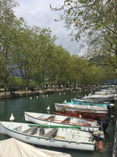 Boats on a canal in Annecy