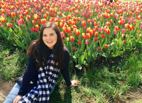 Posing with the tulips!