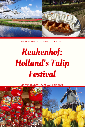 Pin me! Elizabeth Everywhere's guide to Keukenhof, home of the famous Netherlands tulip festival! Perfect day trip from Amsterdam!