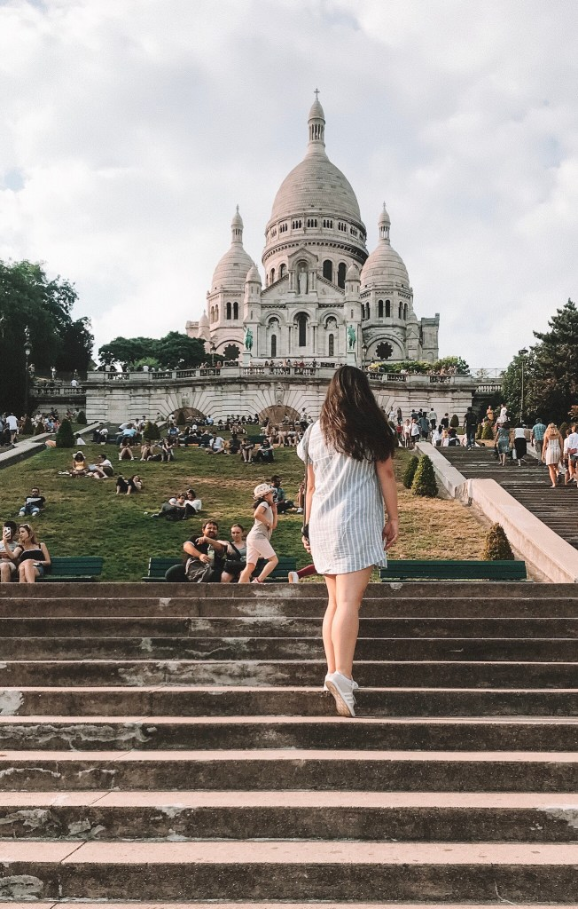 Walking up to Sacre Coeur in Montmartre 18th Arrondissement
