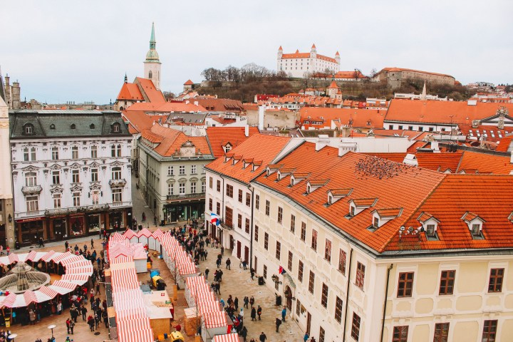 View of the Bratislava Christmas Markets