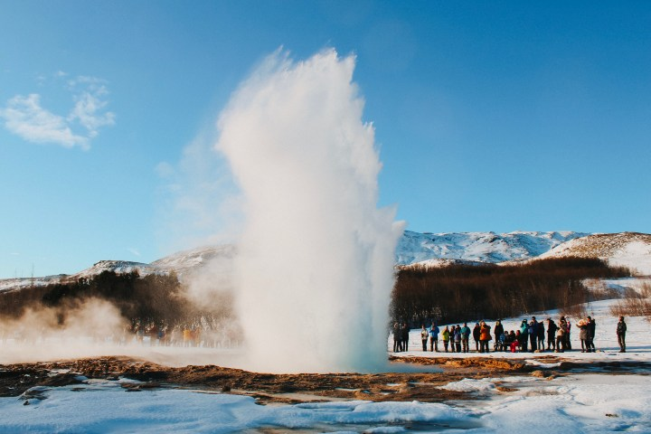 February in Iceland Stokkur Geyser