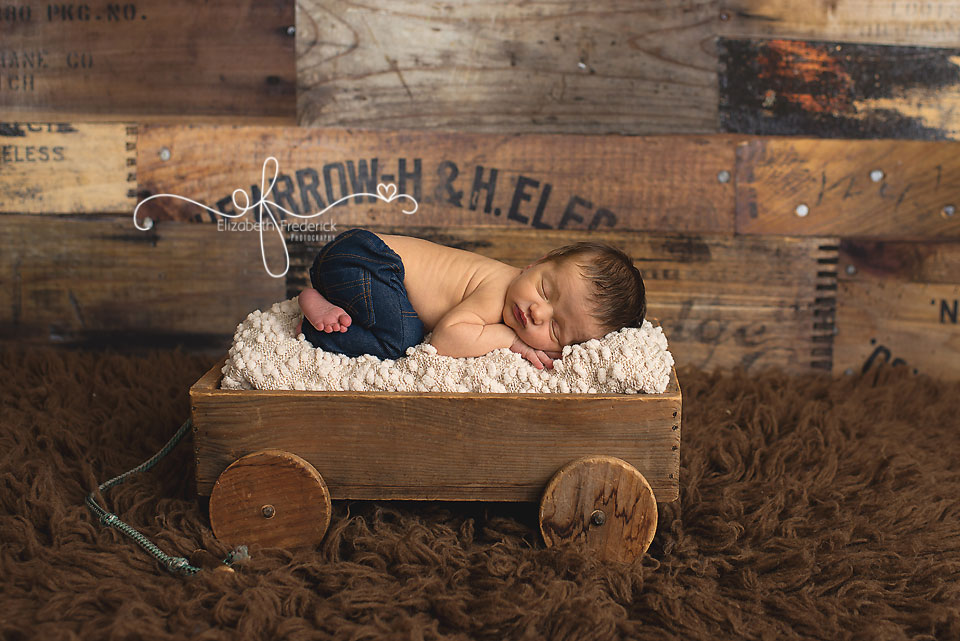 Newborn In a wagon | Green & Navy Newborn Photography Session | CT Newborn Photographer Elizabeth Frederick Photography