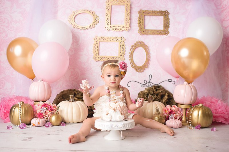 Fall Pumpkin Gold & Pink Vintage Smash Cake First Birthday Photography Session | CT Smash Cake Photographer Elizabeth Frederick Photography