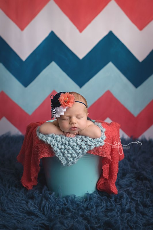 Navy & Coral Newborn Photography Session | Colorful Newborn Photography | CT Newborn Photographer Elizabeth Frederick Photography