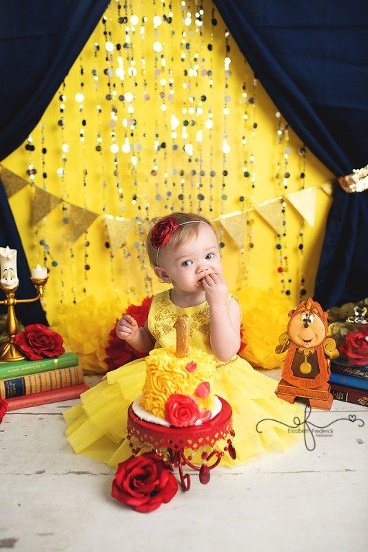 Beauty & the Beast Smash Cake Photography Session | First Birthday | Farmington, CT Smash Cake Photographer