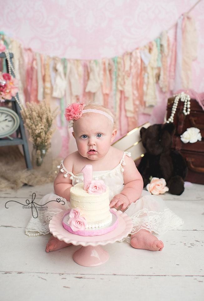Vintage Smash Cake Photography session | CT SMash cake Photographer Elizabeth Frederick Photography