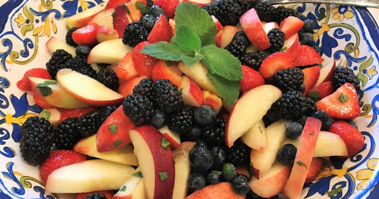 Berry and Peach Fruit Salad with Mint
