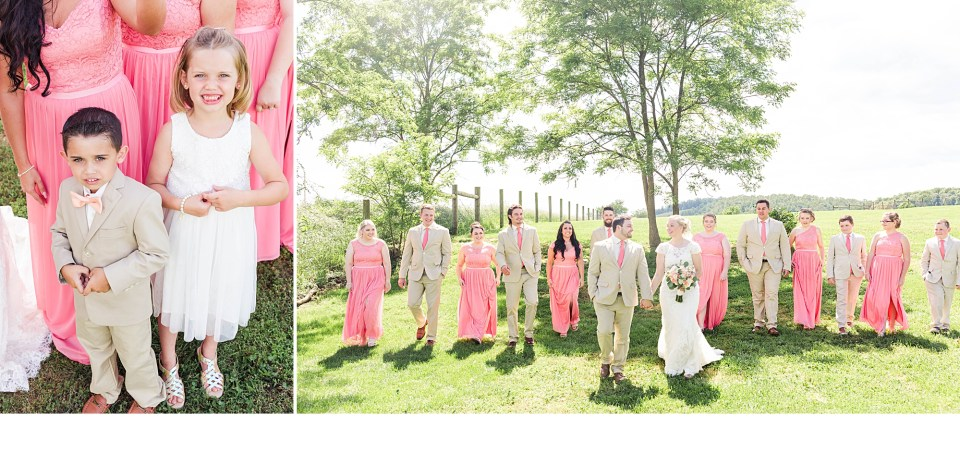 Coral and White Weddings, Bridal Party Photos, Pink Bridesmaid Dresses