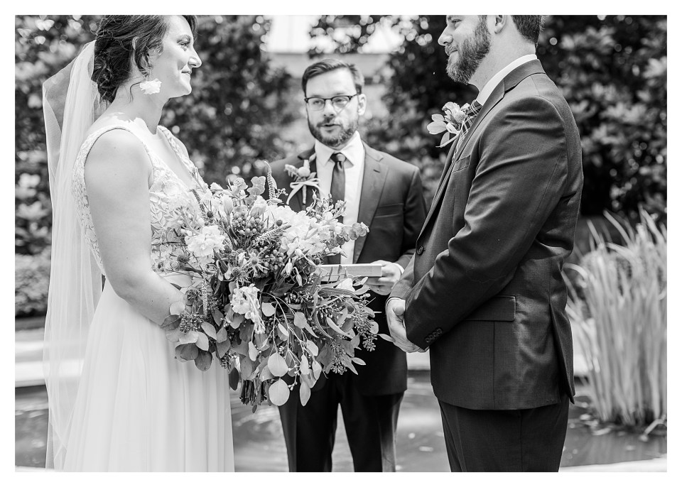 Black and White image of Bride and Groom on wedding day!