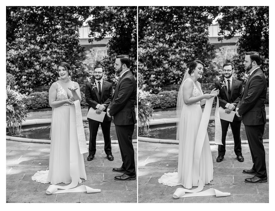 Bride emotional while giving vows