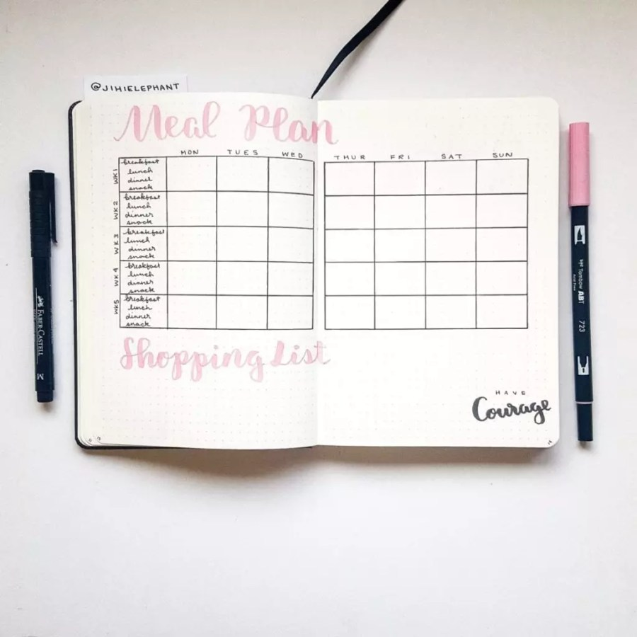 pink meal plan shopping list Emily