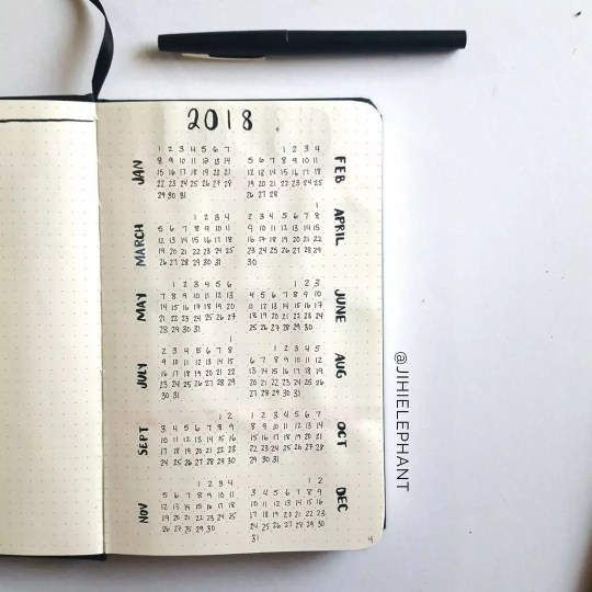 2018 Bullet Journal Year at a Glance Page