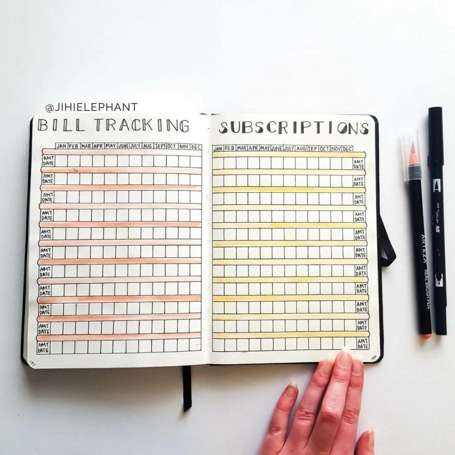 bullet journal, bills, bill tracking, finances, subscriptions