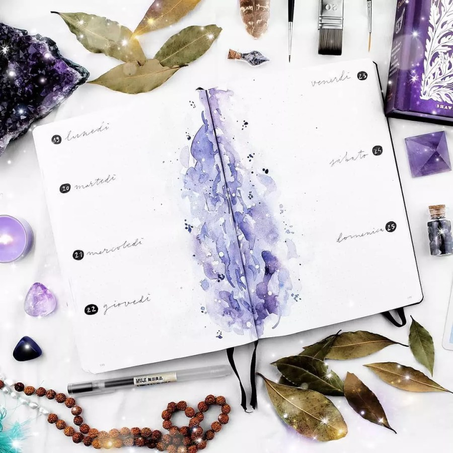 watercolor purple weekly bujo