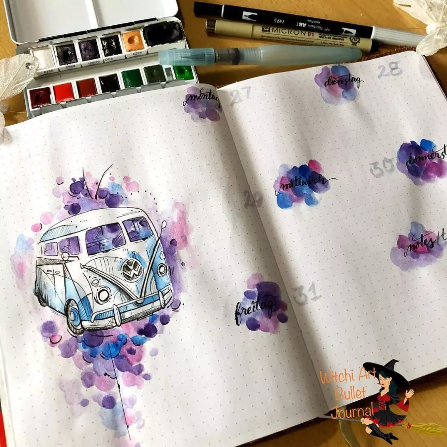 watercolor bus purple blue pink bujo