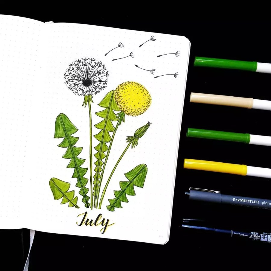 July Dandelions by @seala.bujo