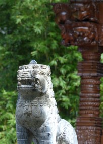This lion stands guard at the Nepal Peace Pagoda at South Bank Parklands. The pagoda was built for the 1988 World Expo.