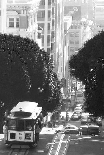 Cable car on a hilly road, San Francisco, 2012.
