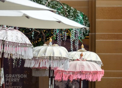 Umbrellas at the pop-up gin bar, MCA.