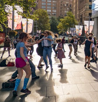 Dance flash mob, Martin Place