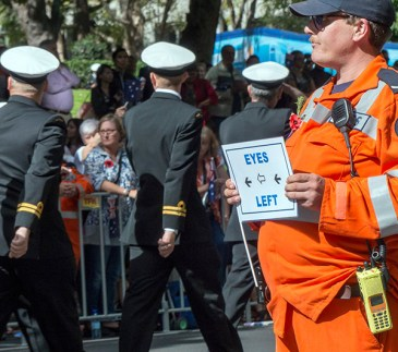 "Eyes left! There's another man just ahead, with a sign saying ""Eyes front""."