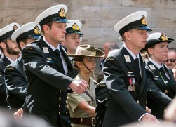 Current navy personnel -- with one army woman in their midst.