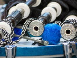 Bagpipes resting on a drum