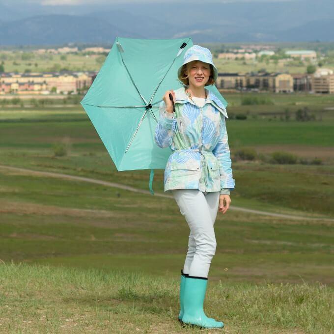 double collar rain jacket
