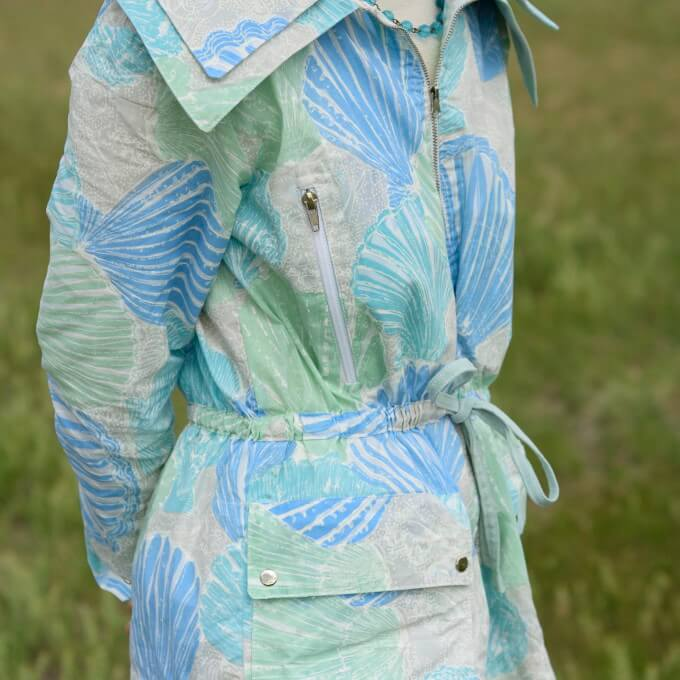 double collar rain jacket