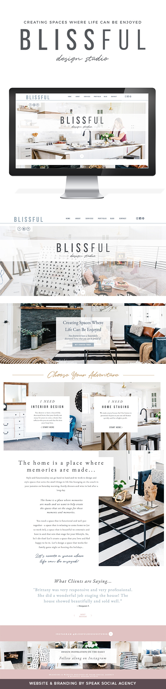 Blissful Design Studio Logo and Website by Speak Social - minimal, modern, chic interior design website. Showit website designs